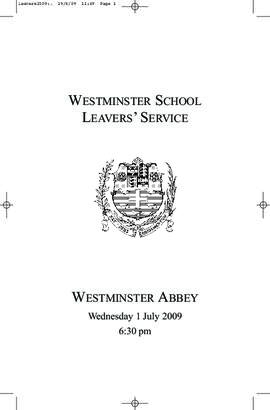 Order of Service of 2009 Leavers' Service