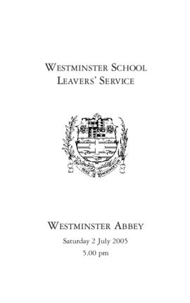 Order of Service of 2005 Leavers' Service