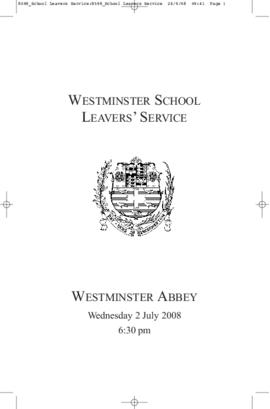 Order of Service of 2008 Leavers' Service