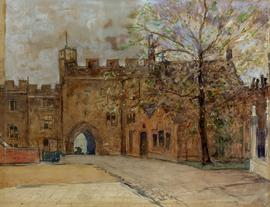 Watercolour painting of Little Dean's Yard, looking west towards Liddell's Arch by Jan Poortenaar