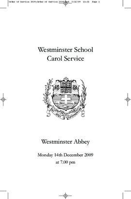 Order of Service for the 2009 Westminster School Carol Service