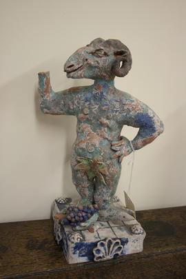 Satyr with bunch of grapes by Laurance Simon