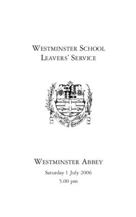 Order of Service of 2006 Leavers' Service