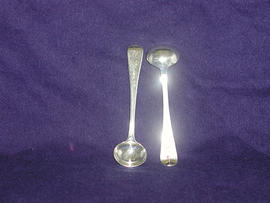 Pair of George III condiment spoons