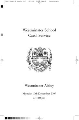 Order of Service for the 2007 Westminster School Carol Service