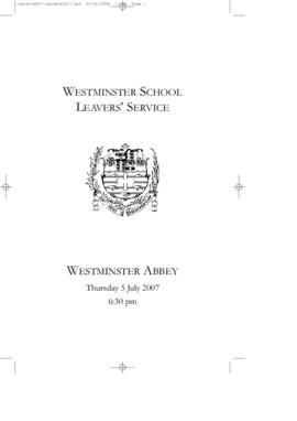 Order of Service of 2007 Leavers' Service