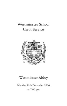 Order of Service for the 2006 Westminster School Carol Service