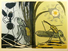 Aesop's Fables: Ant and Grasshopper by Edward Bawden