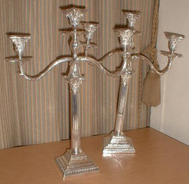 Victorian three-lights Corinthian Column Candelabras (pair)