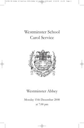 Order of Service for the 2008 Westminster School Carol Service