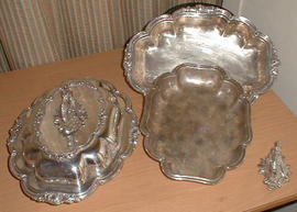 Pair of silver-plated shaped oblong entree dishes, covers and handles